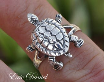 Turtle Ring 10k 14k 18k Solid Gold in White, Yellow or Rose Gold, Solid Gold Turtle Ringm Solid Gold Sea Turtle Ring