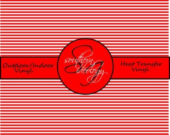 Red and White Striped Craft Vinyl and Heat Transfer Vinyl Pattern 694
