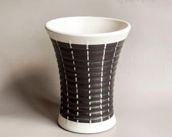 Vintage 1950s/60s DENBY Stoneware Black & White Stripe Burlington Curvy Vase