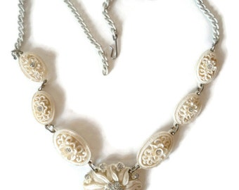 Vintage White Carved Celluloid Flower Rhinestone Choker Necklace