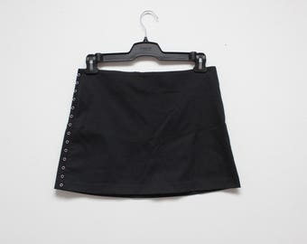 90's Black Eyelet Punk Club Kid Mini Skirt