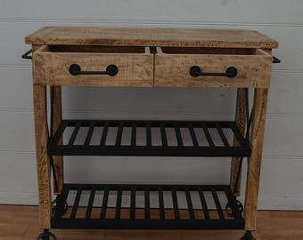 KITCHEN TROLLEY ( Rustic Solid wood Handmade 2 drawers Console Table )
