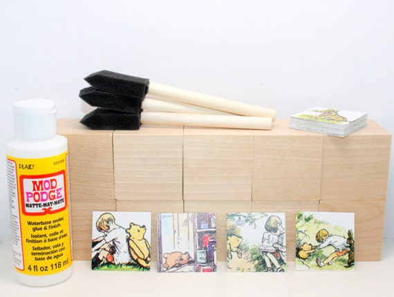 Vintage winnie the pooh diy block kit baby shower craft