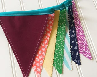 Rainbow Bunting Banner, Party Decor, Baby Shower Decor, Nursery Decor, Photo Prop, Fabric Bunting, Pennant Banner, Garland, Bunting