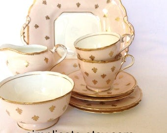 Vintage Aynsley Bone China C817/3 Teaset Tea set Two Trios Cake Plate Bowl Milk Jug Creamer Pink Gold Fleur de lis Pattern Modern Vintage