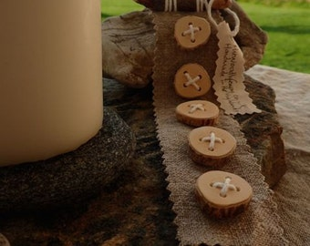 Natural wood buttons on Linen backing.