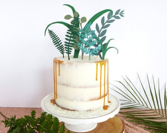 Greenery Wedding Cake Topper / Tropical Decor / Foliage Cake Topper / Unusual Cake Decorations / Cake Topper Birthday / Leaf Decorations