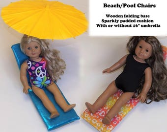 "Doll chair to fit 18"" dolls similar to American Girl Doll.  Pool beach chair furniture for AG or similar 18"" doll.  Umbrella."
