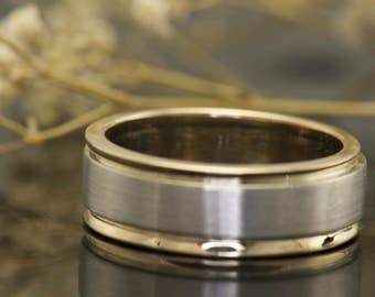 Ben N - Gentleman's  Wedding Band in White and yellow Gold, Center 7mm, Satin Finish with High Polished Edges, Free Shipping