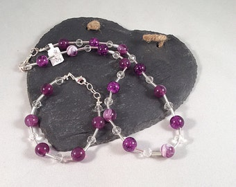Purple Marbled and Clear Beaded Necklace and Bracelet Set