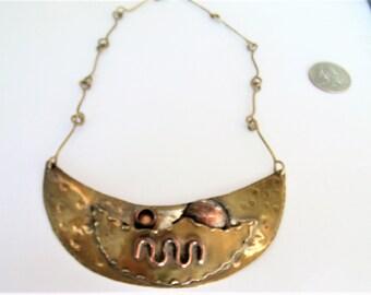 Vintage Handmade Brass Necklace / Handmade Copper Necklace / Brass necklace / Copper Necklace / Brass Items / Copper Items / Necklace