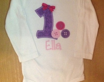 Pink and Purple Cute as a Button Birthday Shirt or Baby Bodysuit