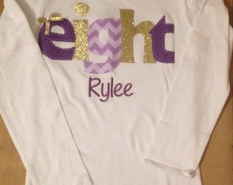 Purple and gold  birthday shirt or baby bodysuit