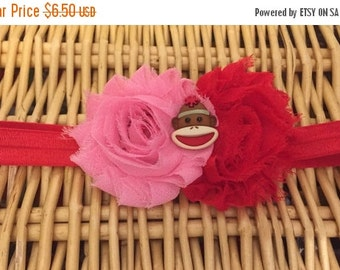 Red and pink sock monkey shabby flower headband