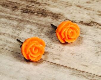 Rose Stud Earrings, Peach Orange Rose Post Earrings. Resin Flower Earrings, Halloween Earrings, Dainty Earrings, Small Earrings