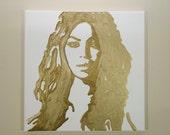 Beyoncé Painting (12x12) Pop Art, Gold Painting, Home Decor Art