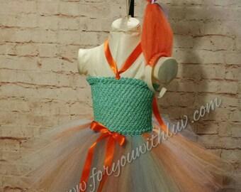 Troll Tutu dress and orange troll hair headband Set trolls costume Cartoon tutu dress nice enough for Pageant wear Dance recital Birthday.