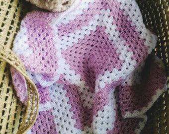 Handmade Baby Blanket,Dusky Rose Pink,Crocheted Granny Square Newborn Baby Travel Blanket 24x24 inches