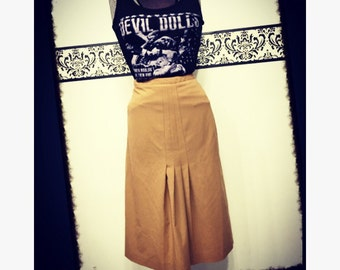1980's Tan Pencil Skirt by Harve Benard, Size 12, Vintage Pleated Secretary Grunge Skirt, 80's Hipster Pleated Skirt