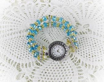 Wrist watch quartz watch bracelet ladies watch crystal glass beads stretch