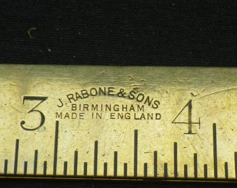 Vintage Brass J Rabone Folding Two Foot Ruler Rule