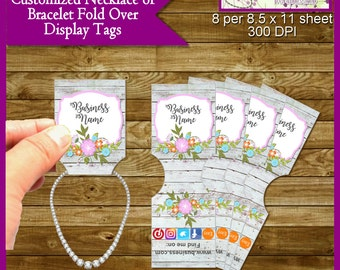 Shabby Chic Custom Jewelry Tags for Necklace or Bracelet - Printable Digital File