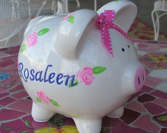 Kids-Custom-Hand-Painted-Piggy-Bank,Personalized-Piggy-Bank,Pink-Rose-Bud-Piggy-Bank,Ceramic-Piggy-Bank