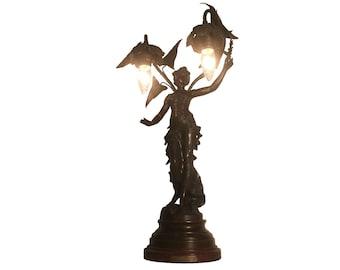 Auguste Moreau Fruits D' Automne Art Nouveau Bronze Maiden Table Lamp (French c. 1900s)