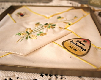 Vintage. Hankies. Handmade cameo necklace. Ladies hankies. Hankerchiefs. Fruit of the loom.