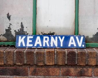 Kearny Avenue Porcelain Enamel Vintage Street Sign Wall Decor