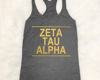 Zeta Tau Alpha Top | Metallic Gold | Tshirt | Tee | Zeta