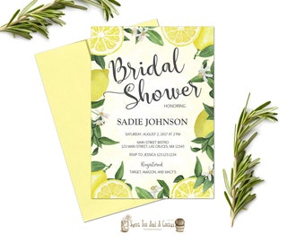 Lemon Bridal Shower Invitation Summer Fruit Wedding Shower Invites Yellow White Floral Flower Digital File or Prints with Free Shipping