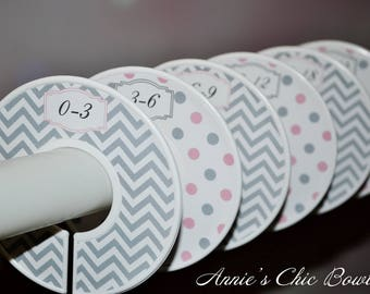 Girl closet dividers, Baby Closet Dividers, Closet Organizers, Baby shower gift, Pink Grey chevron dots, Kids Clothes divider, Nursery C201