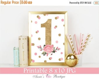 Digital 1st Birthday Sign, Birthday Decoration, Printable Girl Birthday Party Sign, Number sign, Pink Gold Glitter,  8x10 JPG, Party Decor