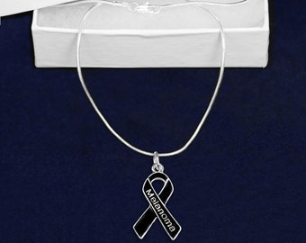 12 Melanoma Black Ribbon Necklaces in Gift Boxes (12 Necklaces) (N-29-17MA)
