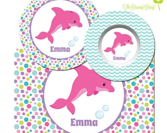 Personalized Plate for Kids - Dolphin Plate, Bowl & Placemat - Dolphin Dinnerware for Girls - Custom Kids' Tableware