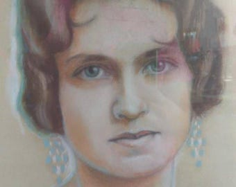 Antique Old Pastel Painting Drawing Young Woman 1930s Artist Signed Original Art