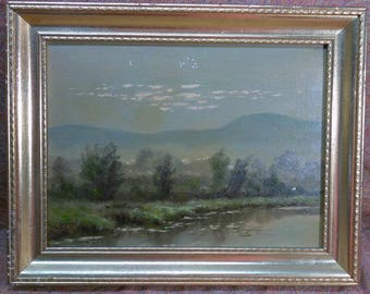 Vintage Antique Old American Landscape New York Oil Painting by Louis Saphier