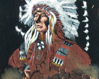 Vintage Painting Native American Indian Chief Portrait Framed Signed