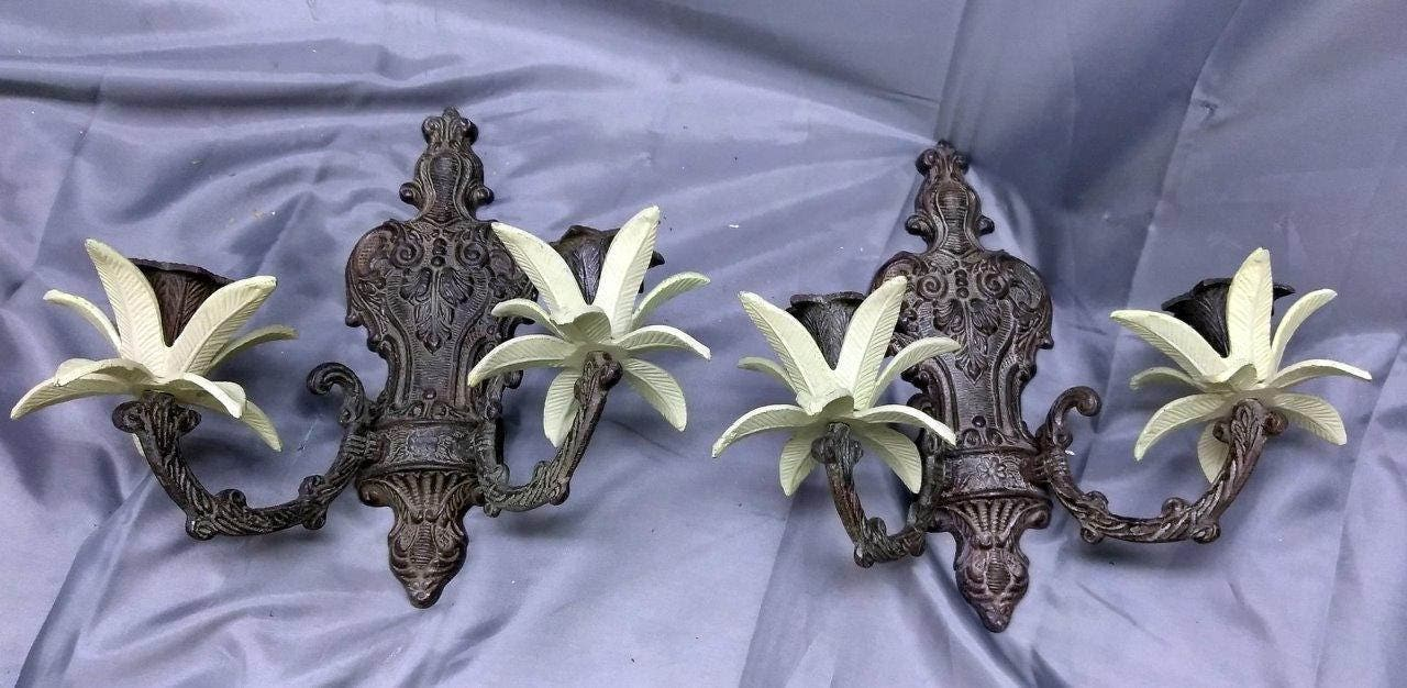 Pair of Two 2 Set of Brass Tropical Wall Sconces Candle