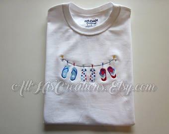 4th of July T-Shirt, Ladies Flip Flop T-Shirt, Red White Blue Flip Flop T-Shirt, Summer Shirt, Embroidered T-Shirt, Custom Embroidered Shirt