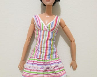 used barbie doll fancy fashionistas striped dress with fringe summer fashion