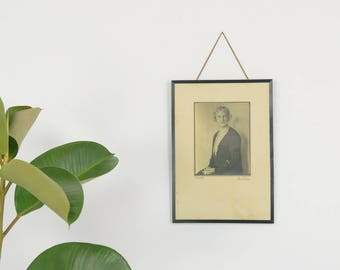 Vintage Wooden Framed Black and White Photograph Portrait of a Woman