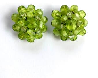 Vintage Lime Green Glass Crystal Earrings Made in Western Germany