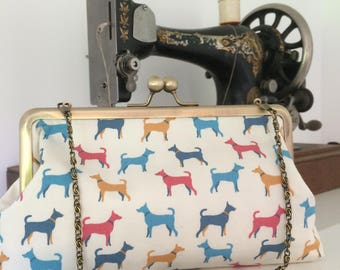 Adorable Dogs Clutch Purse with Chain