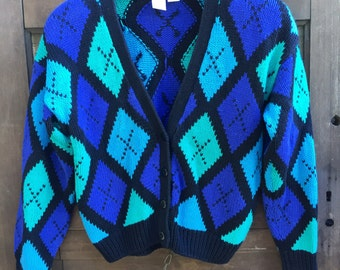 Vintage Women's Knit Teal and Purple Plaid Crop Top Cardigan Sweater by Clifford and Wills