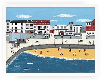 Margate cityscape print - margate illustration seaside sea front beach margate art sea view seaside illustration sea dreamland beach print