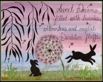 Item 0085,  Sweet Dreams filled with Dandelion Fluffs and Bunnies, Cats, whimsical watercolor print or card, Shadow Kitties