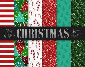 Christmas Paper Pack / Candy Cane Digital paper / Red, Green, Turquoise Christmas Trees / Red Stripes / Green Stripes Paper / Holiday Paper