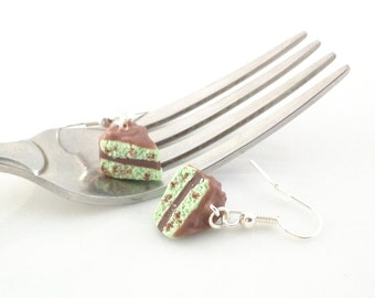 Cake Earrings,Mint Chocolate Chip,Chocolate Cake,Mint Cake,Food Jewelry,Miniature Food,Birthday Cake,Sweet 16 Gift,Cake Lovers,Novelty Gifts